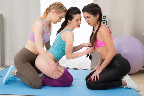 Girl's yoga session gets hot