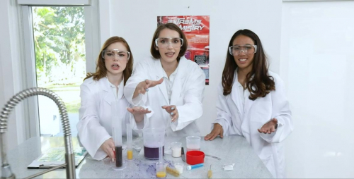 College hotties studying chemistry