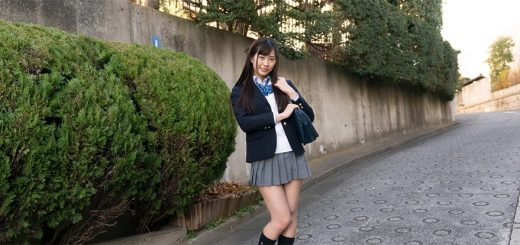 Japanese teen girl posing in schoolgirl uniform