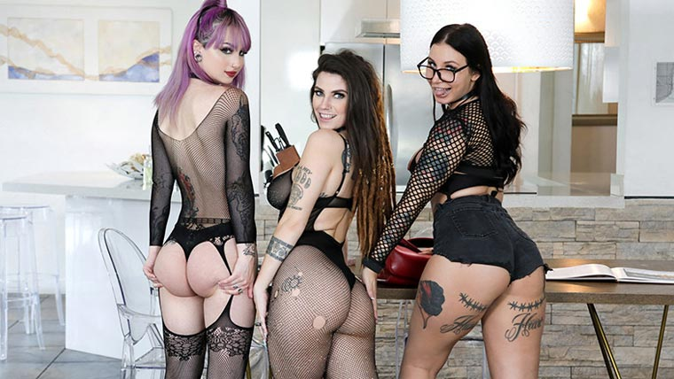 Tattooed Up Sex Kittens Group Party (Video)