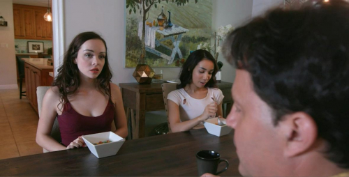 Threesome with teen stepdaughter and her friend